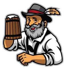 Old man and wooden mug of beer vector