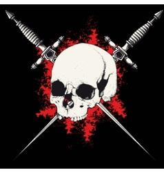 skull and dagger black vector image