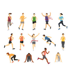 different running athlets sport people runner vector image