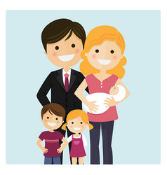 family with two children and a newborn baby on vector image