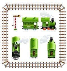 green vintage locomotive with vector image vector image