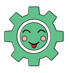 Happy gear kawaii icon image vector