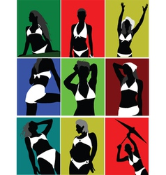 silhouette poses vector image