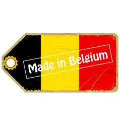 Vintage label with the flag of Belgium vector image