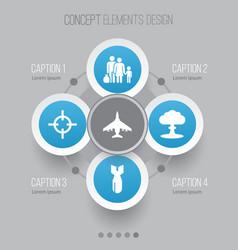 warfare icons set collection of aircraft atom vector image vector image