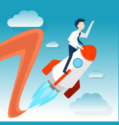 a businessman rides rocket for launching startup vector image vector image