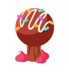 chocolate cake tree colorful cartoon vector image vector image