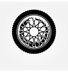 Grunge motorcycle wheel vector image