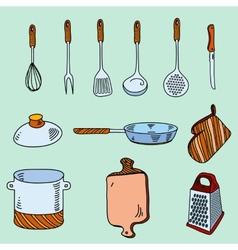 Hand drawn doodle sketch kitchen utensils for vector