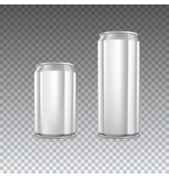 Metal cans on transparent vector image