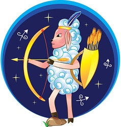 Sagittarius with bow and arrows vector image