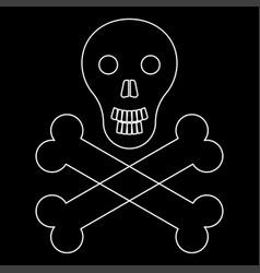 skull and bones the white path icon vector image