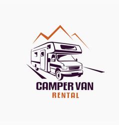 camper van outlined sketch emblem and label vector image
