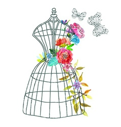 Doodle mannequin with watercolor flowers and vector image