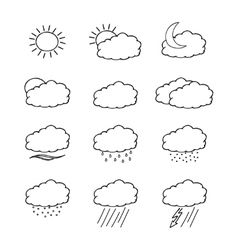 Hand-drawn weather icons set isolated on white vector image