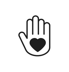 hand with heart line icon love relationship peace vector image