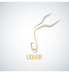 liquor shot glass bottle background vector image vector image