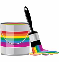 rainbow paint tin vector image vector image