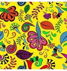 Seamless color abstract hand-drawn doodle pattern vector image