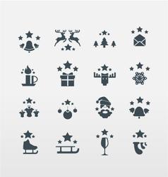 Set of 16 Christmas icons vector image