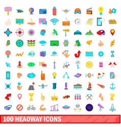 100 headway icons set cartoon style vector
