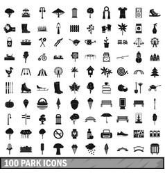 100 park icons set in simple style vector