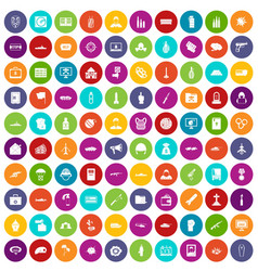 100 war icons set color vector