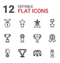 12 contest icons vector