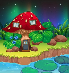 A red mushroom house near the river with vector image
