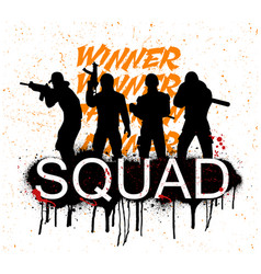 A squad of 4 player pubg vector