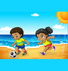 African boy and girl playing football vector