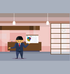 Asian business man leading presentation finance vector
