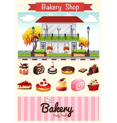 Bakery shop and desserts vector