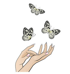 Beautiful female hands release a flock of vector