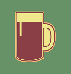 Beer glass sign cordovan icon and mellow vector