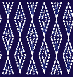 Blue shibori monochrome vertical diamonds vector