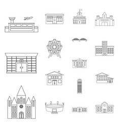 building repair outline icons in set collection vector image