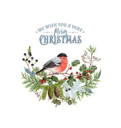 Bullfinch christmas composition vector