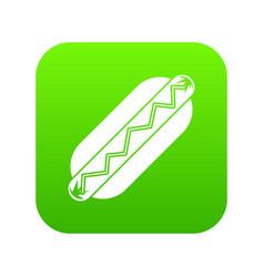 bun and sausage icon digital green vector image