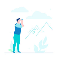 business strategy - flat design style vector image