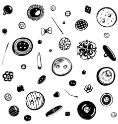 Buttons and Needles Seamless Pattern Ink Drawing vector image