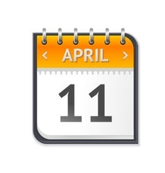 Calendar April Eleven Flat Design vector image