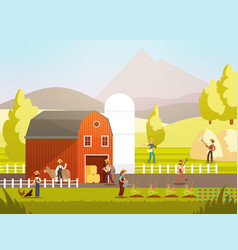 Cartoon farm with farmers farm animals and vector