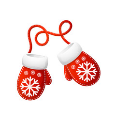 cartoon mittens santa with snowflake pattern vector image