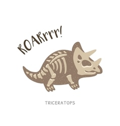 Cartoon triceratops dinosaur fossil vector image