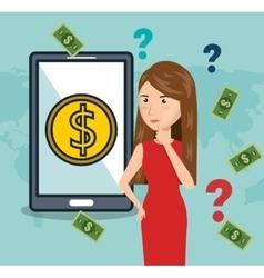 Cartoon woman smartphone money e-commerce isolated vector