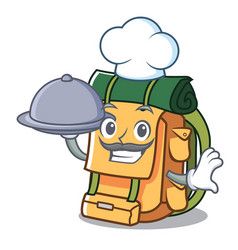 chef with food backpack mascot cartoon style vector image