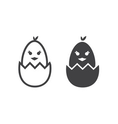 chick hatched from an egg line and glyph icon vector image