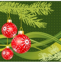 Christmas fir and balls vector image