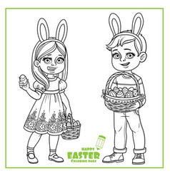 cute boy and girl in rabbit ears and with baskets vector image